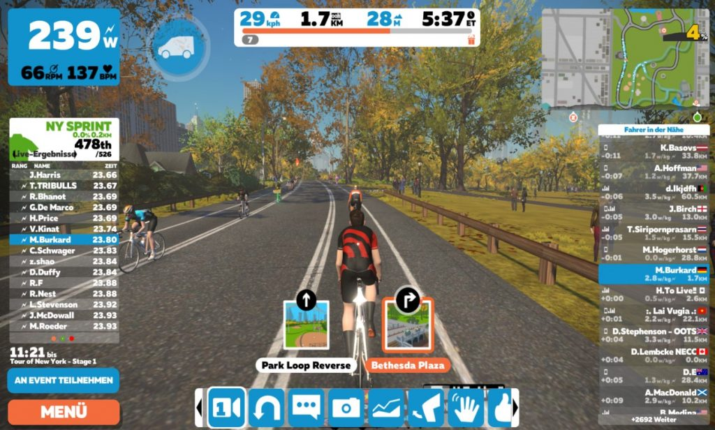 Zwift Aktions- und Optionsmenü