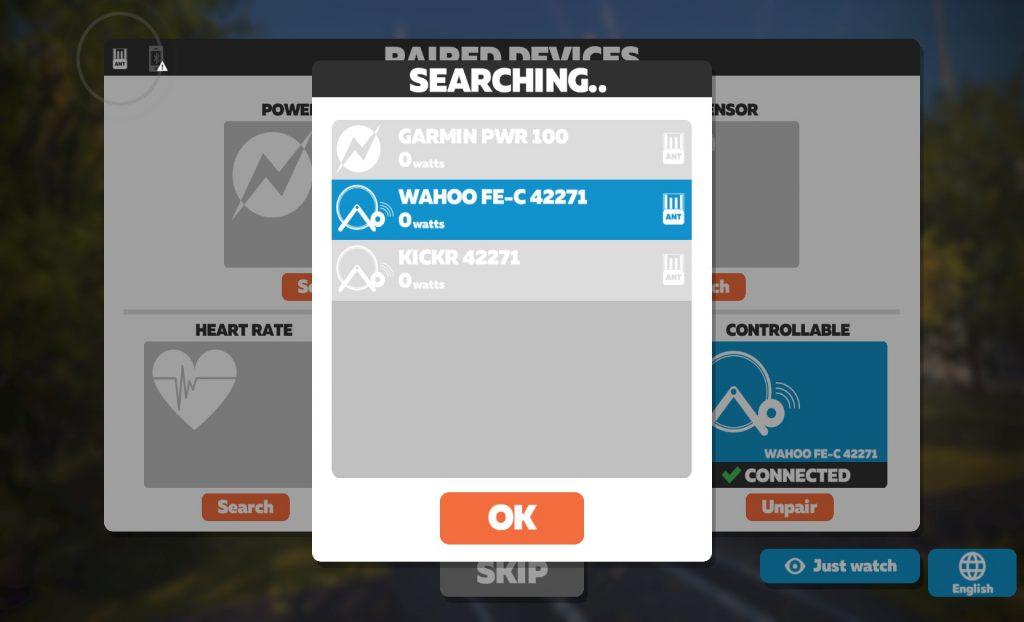 Zwift Koppel Bildschirm FE-C