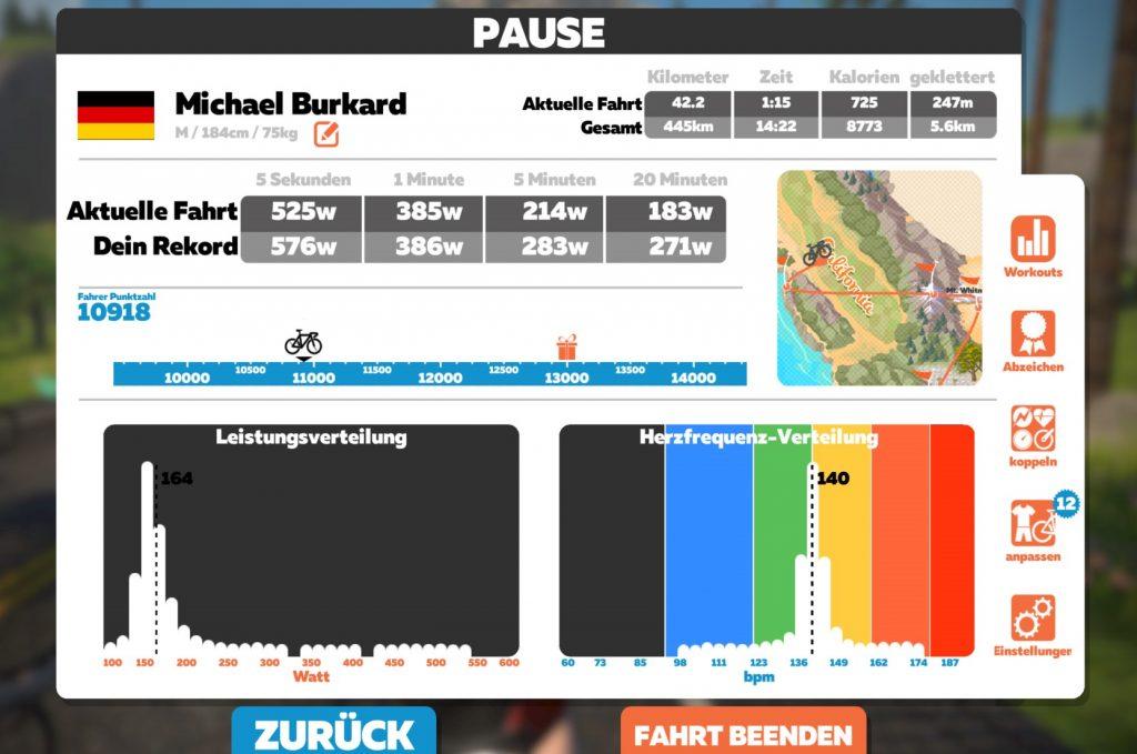 Zwift Pause-Bildschirm