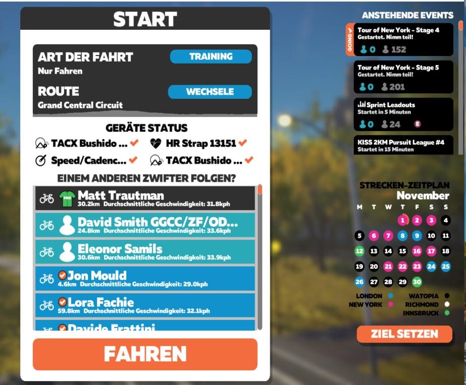 Zwift Startbildschirm
